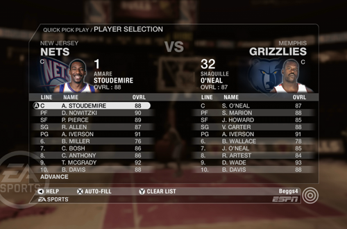 Selecting players in Quick Pick Play in NBA Live 08