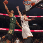 Giannis Antetolounmpo dunks the basketball in NBA Live 18.