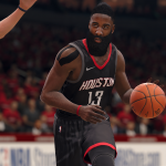 James Harden wearing the Rockets' Statement Jersey in NBA Live 18
