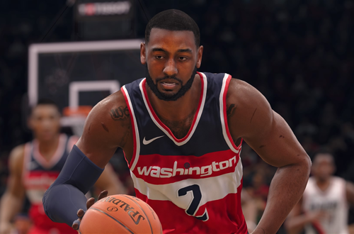 John Wall dribbles the basketball in NBA Live 18
