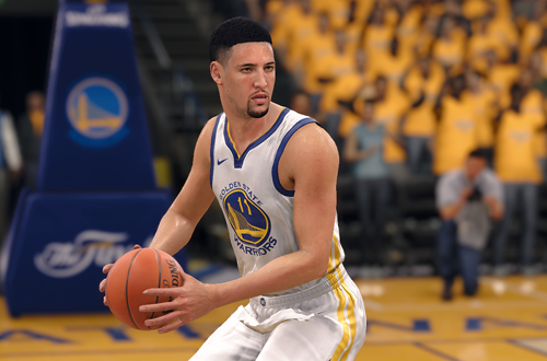 Klay Thompson with the basketball in the NBA Live 18 Demo