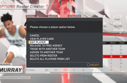 Edit Player Options in NBA 2K18