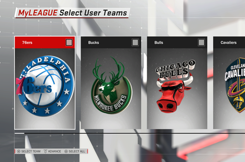MyLEAGUE Team Selection (NBA 2K18)