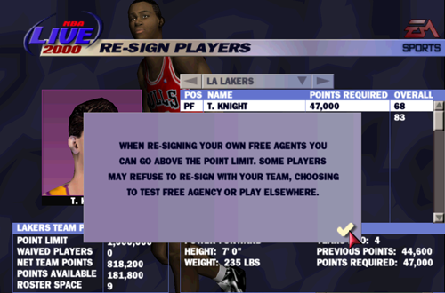 Franchise Mode Re-Sign Players in NBA Live 2000