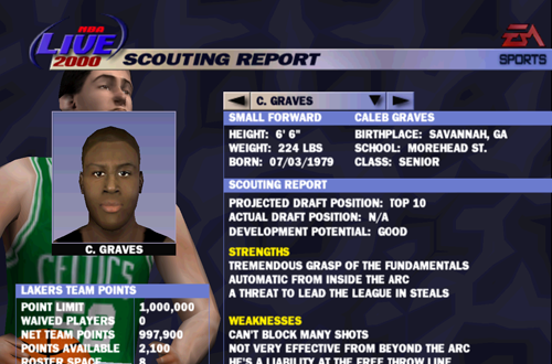 Franchise Mode Scouting Report in NBA Live 2000