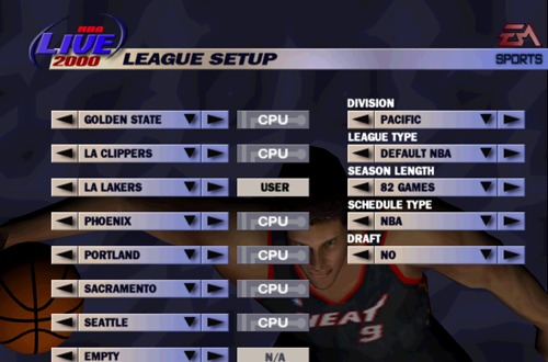 Franchise Mode Setup in NBA Live 2000