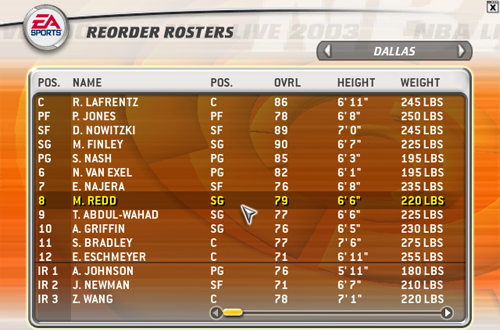 2003 Mavericks Roster with Michael Redd (NBA Live 2003)