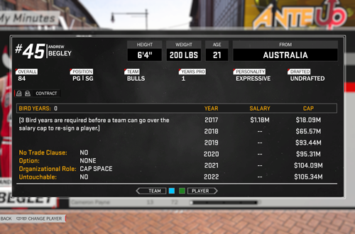 MyPLAYER Rookie Salary in NBA 2K18