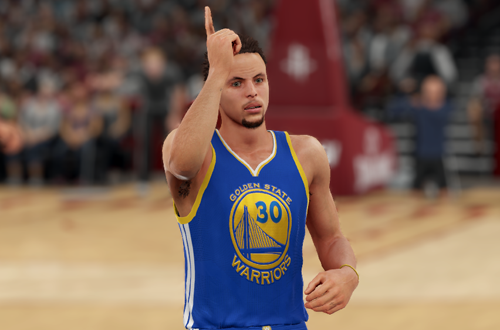 Stephen Curry celebrates in NBA 2K16