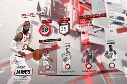 Rotated Menu in NBA 2K18