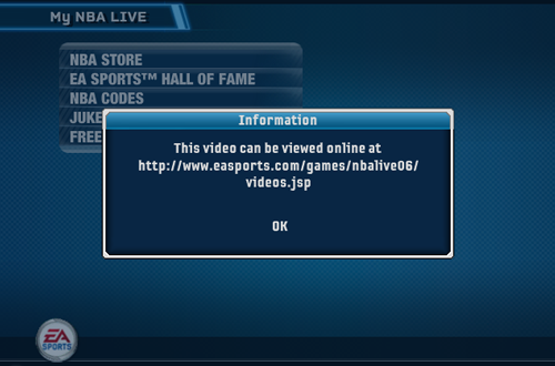 Video link in the My NBA LIVE Menu (NBA Live 06)