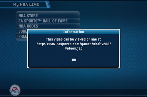 Video link in the My NBA LIVE Menu (NBA Live 06)