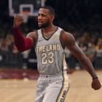 LeBron James wearing The Land jersey in NBA Live 18