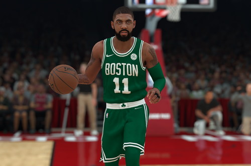 Kyrie Irving dribbles the basketball in NBA 2K18