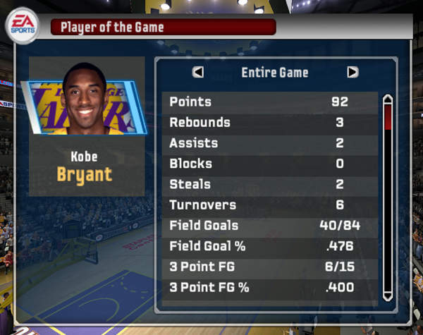 Kobe Bryant Scores 92 Points (NBA Live 06)