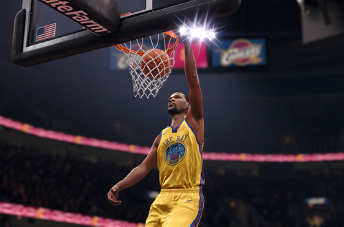Kevin Durant dunks the basketball in NBA Live 18