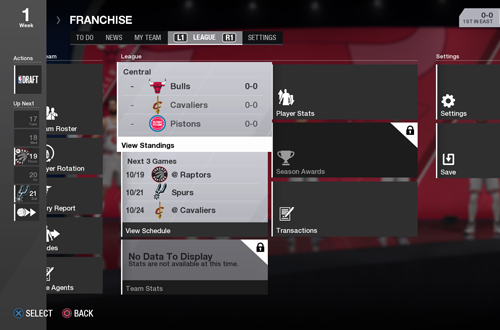 Franchise Hub in NBA Live 18