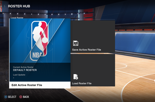 Roster Hub in NBA Live 18