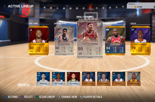 Active Lineup in Ultimate Team (NBA Live 18)