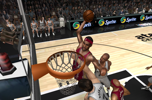 LeBron James dunks in NBA Live 08