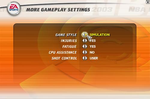 NBA Live 2003 Gameplay Settings