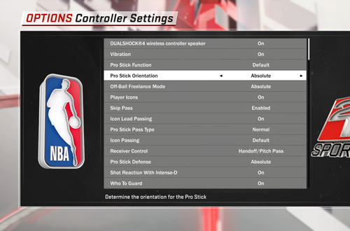 Absolute Controls in NBA 2K18