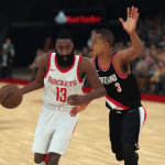 James Harden dribbles the basketball in NBA 2K18