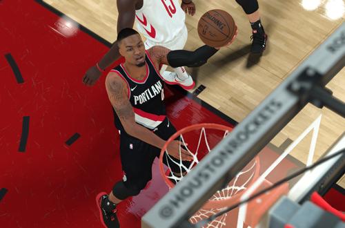 Damian Lillard with the layup in NBA 2K18