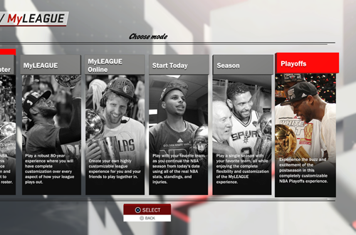 Playoffs Mode among the MyGM/MyLEAGUE Options