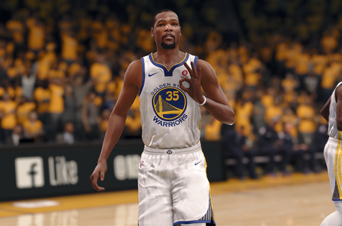 Kevin Durant celebrates a three-pointer (NBA Live 18)