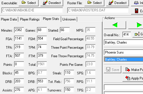 Entering Stats in the NBA Live 96 Editor