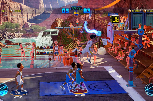 Lonzo Ball dunking in NBA Playgrounds 2