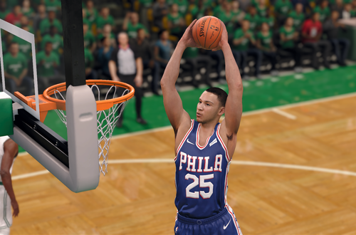 Ben Simmons dunking the basketball (NBA Live 18)