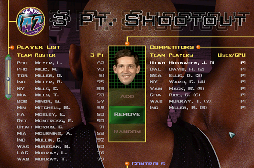 Selecting Three-Point Shootout Contestants (NBA Live 98)