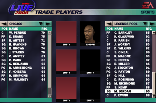 Legends Pool in NBA Live 2000