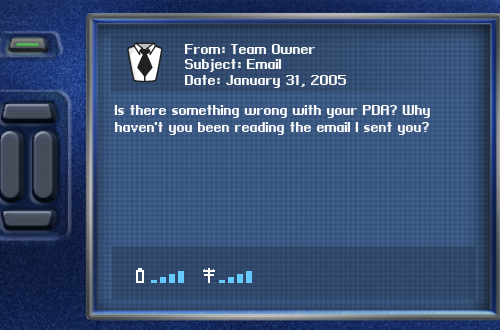 Message from Owner in Dynasty Mode (NBA Live 2005)