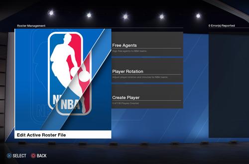Roster Editing Menu in NBA Live 18