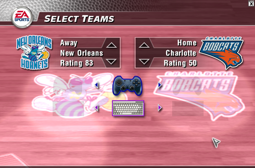 Selecting the Charlotte Bobcats in NBA Live 2004
