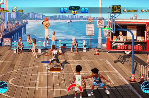 Stephen Curry shoots in NBA Playgrounds 2