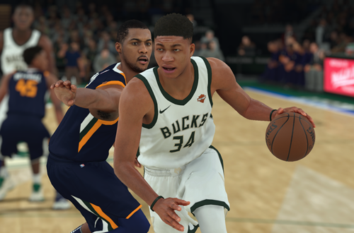 Giannis Antetokounmpo dribbles the basketball (NBA 2K18)