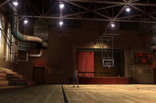 Far shot of the stage in the Tandy Rec Center (NBA Live 06 PC)