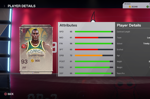 Shawn Kemp Legends Card in Ultimate Team (NBA Live 18)