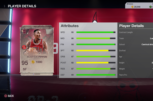 Scottie Pippen Legends Card in Ultimate Team (NBA Live 18)