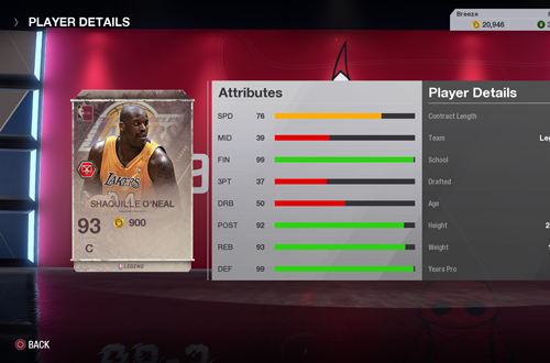 Lakers Shaquille O'Neal Legends Card in Ultimate Team (NBA Live 18)