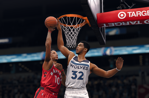 Defensive improvements are noticeable in newer basketball games (NBA Live 18, Karl-Anthony Towns)