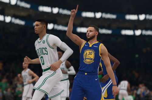Stephen Curry celebrates in the NBA Live 19 demo