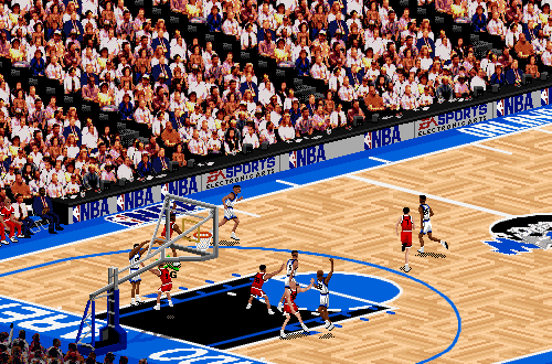 Isometric Camera Angle in NBA Live 95 (Bulls vs Magic)