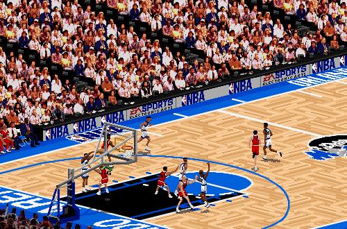 Isometric Camera Angle in NBA Live 95 (Bulls vs Magic)