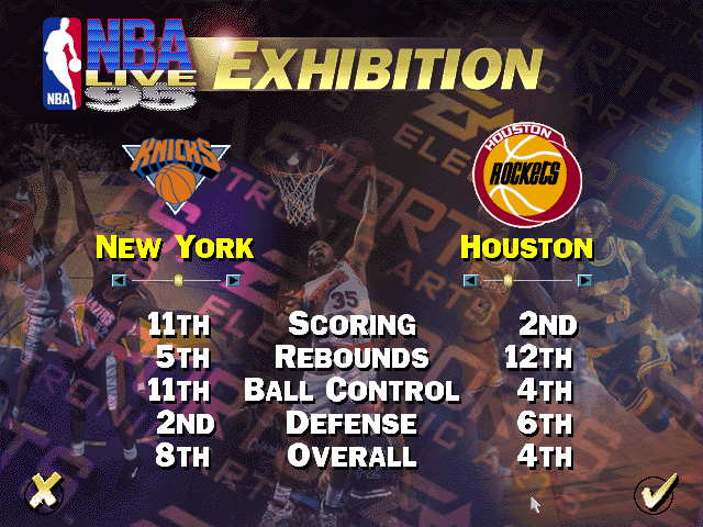 NBA Live 95 Team Select Screen (Exhibition)