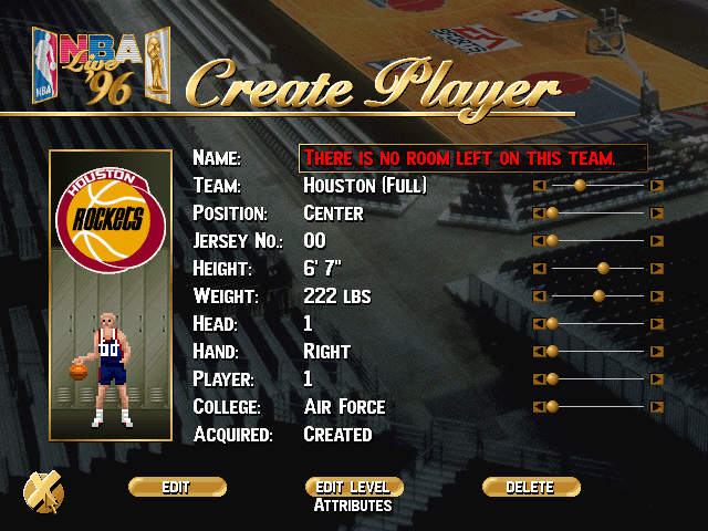 NBA Live 95 Rockets Logo in NBA Live 96's Create-a-Player